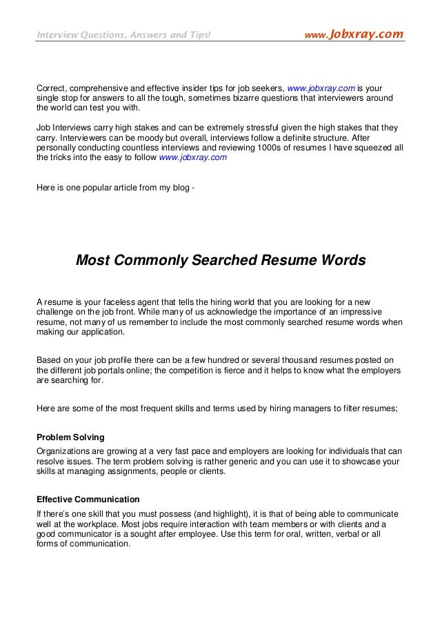 SlideShare  Words To Use In Your Resume