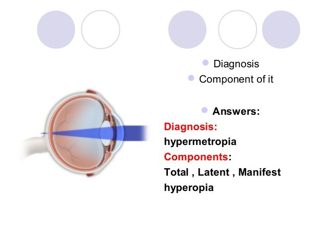  Diagnosis      Component of it        Answers:Diagnosis:hypermetropiaComponents:Total , Latent , Manifesthyperopia