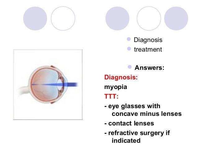  Diagnosis       treatment       Answers:Diagnosis:myopiaTTT:- eye glasses with   concave minus lenses- contact lenses-...