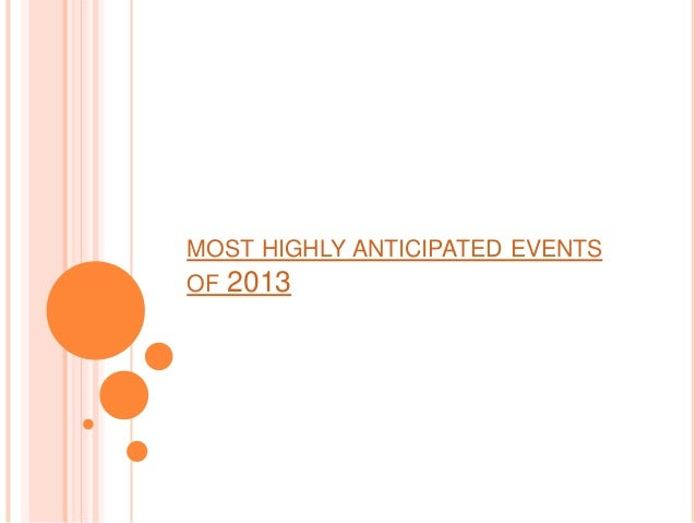 MOST HIGHLY ANTICIPATED EVENTSOF 2013