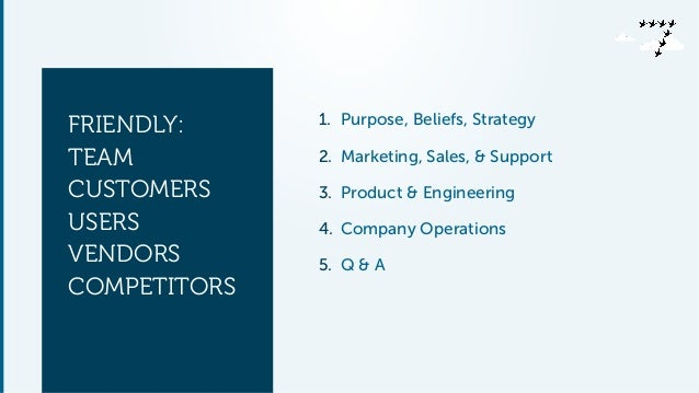 !  FRIENDLY:  TEAM  CUSTOMERS  USERS  VENDORS  COMPETITORS  !  1. Purpose, Beliefs, Strategy  2. Marketing, Sales, & Suppo...