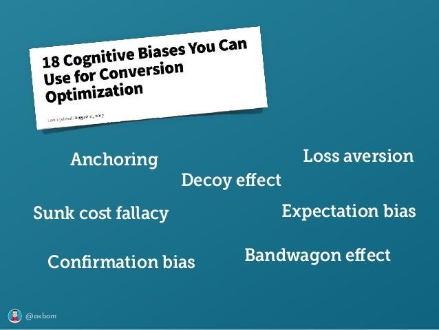 @axbom Loss aversion Sunk cost fallacy Anchoring Bandwagon effect Decoy effect Expectation bias Confirmation bias