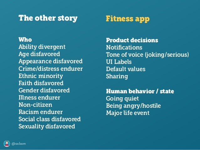 @axbom The other story Fitness app Product decisions Notifications Tone of voice (joking/serious) UI Labels Default values S...