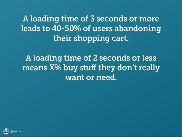@axbom A loading time of 3 seconds or more leads to 40-50% of users abandoning their shopping cart. A loading time of 2 se...