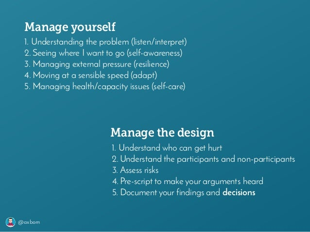 @axbom 1. Understanding the problem (listen/interpret) 2. Seeing where I want to go (self-awareness) 3. Managing external ...