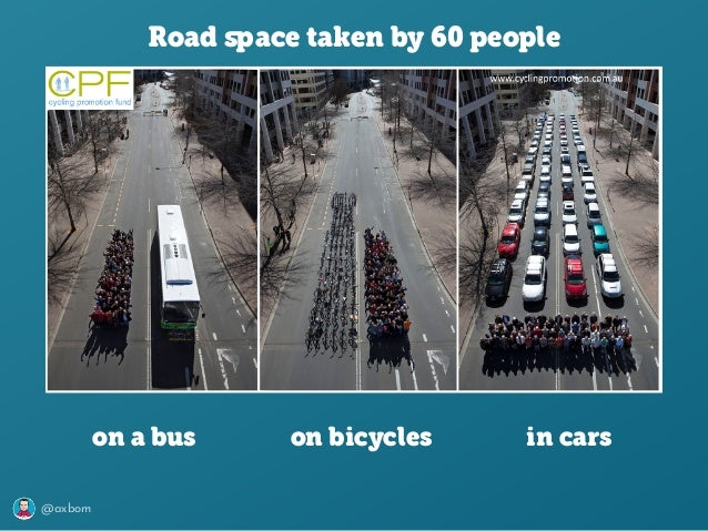 @axbom Road space taken by 60 people on a bus on bicycles in cars