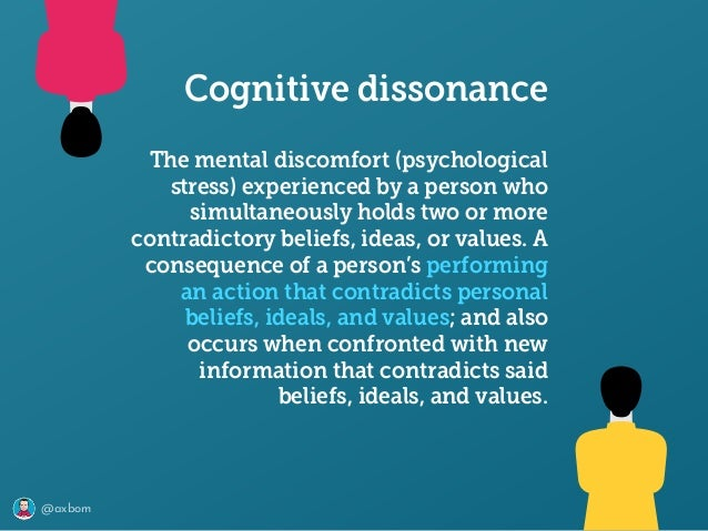 @axbom The mental discomfort (psychological stress) experienced by a person who simultaneously holds two or more contradict...