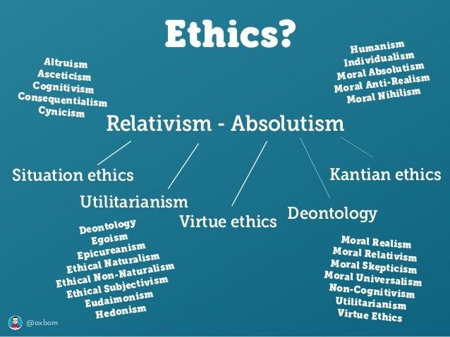 @axbom Ethics? Relativism - Absolutism Utilitarianism Kantian ethicsSituation ethics Virtue ethics Deontology Altruism Asc...