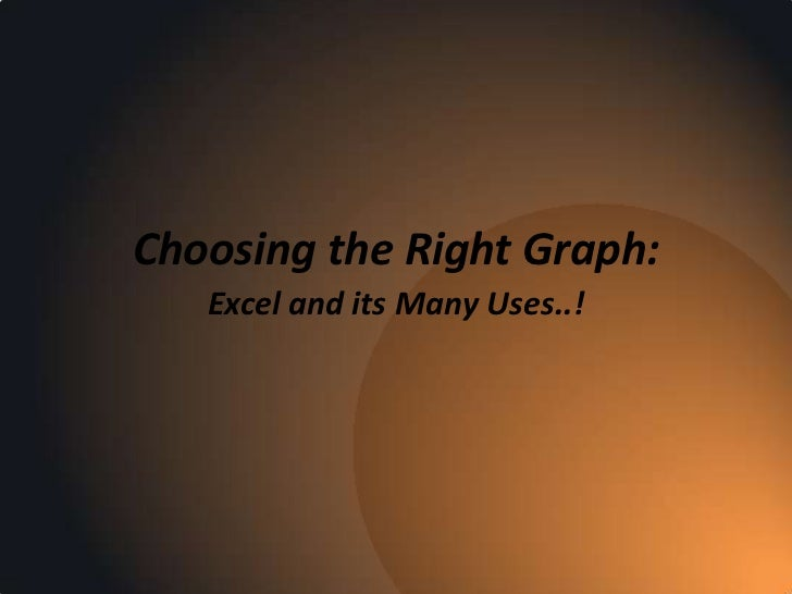 Choosing the Right Graph:   Excel and its Many Uses..!
