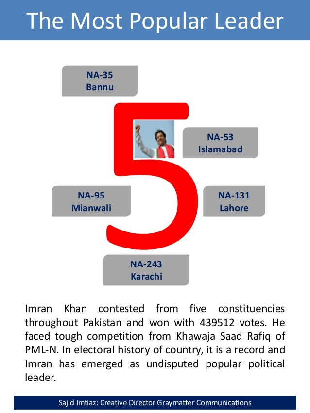 The Most Popular Leader NA-131 Lahore NA-95 Mianwali NA-243 Karachi NA-35 Bannu NA-53 Islamabad Imran Khan contested from ...