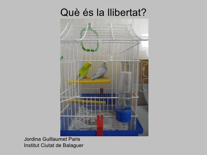 Què és la llibertat? Jordina Guillaumet Paris Institut Ciutat de Balaguer