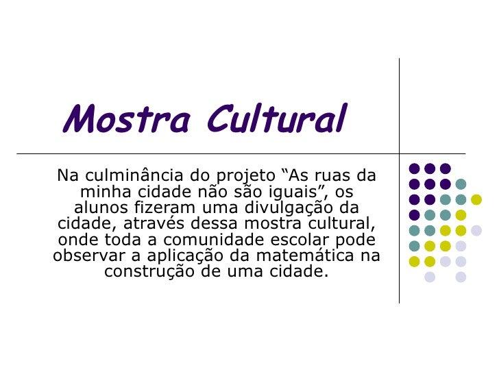 """Mostra Cultural Na culminância do projeto """"As ruas da minha cidade não são iguais"""", os alunos fizeram uma divulgação da ci..."""