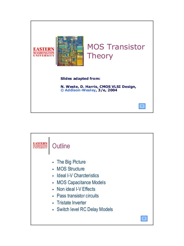 11Slides adapted from:N. Weste, D. Harris, CMOS VLSI Design,© Addison-Wesley, 3/e, 2004MOS TransistorTheory2OutlineThe Big...