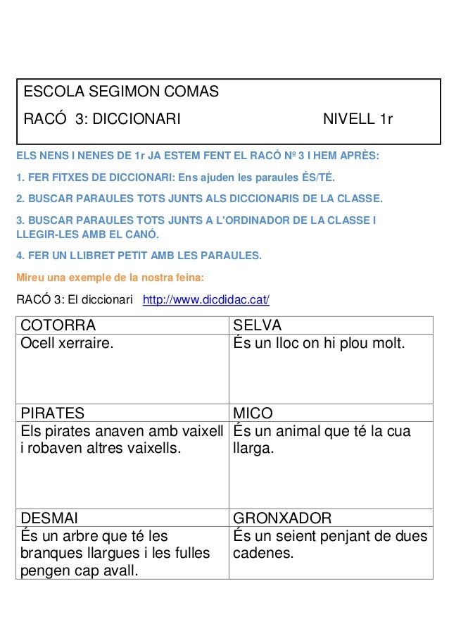 ESCOLA SEGIMON COMAS RACÓ 3: DICCIONARI                                     NIVELL 1rELS NENS I NENES DE 1r JA ESTEM FENT ...