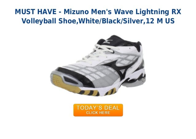 MUST HAVE - Mizuno Mens Wave Lightning RXVolleyball Shoe,White/Black/Silver,12 M US