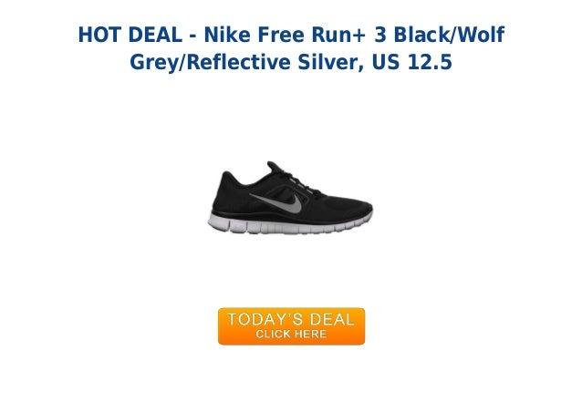 HOT DEAL - Nike Free Run+ 3 Black/WolfGrey/Reflective Silver, US 12.5