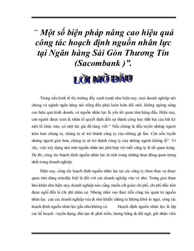 """"""" Một số biện pháp nâng cao hiệu quả công tác hoạch định nguồn nhân lực tại Ngân hàng Sài Gòn Thương Tín (Sacombank )"""". Tr..."""
