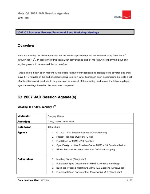 Mota Q1 2007 JAD Session Agendas Plan Business Process Functional Spec Workshop