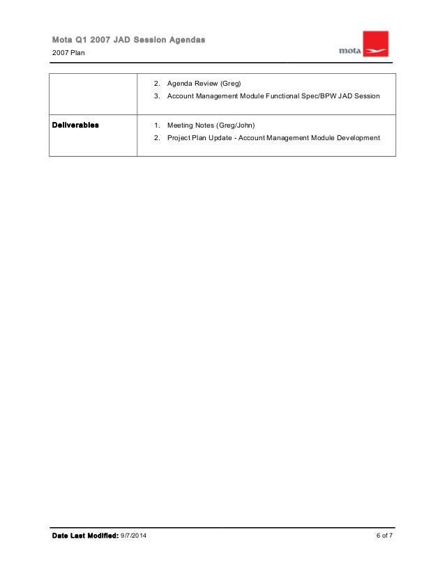 organizational jad session workshops