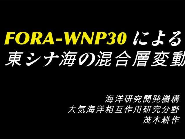 FORA-WNP30 による シナ の東 海 混合層変動 海洋研究開発機構 大気海洋相互作用研究分野 茂木耕作