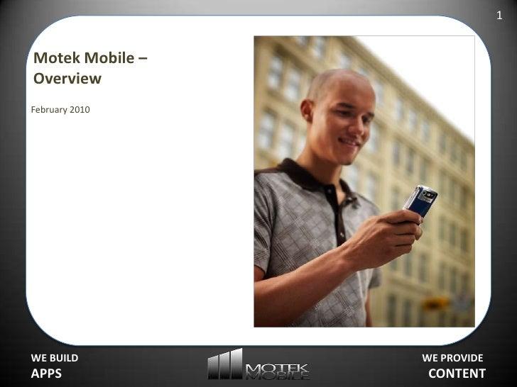 Motek Mobile – Overview<br />February 2010<br />