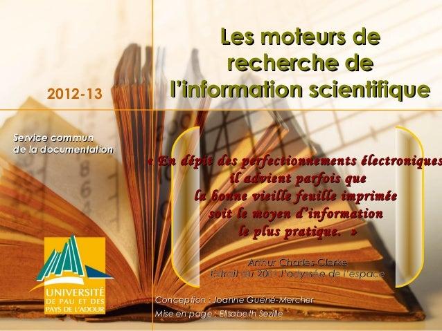 Les moteurs de                                 recherche de      2012-13             l'information scientifiqueService com...