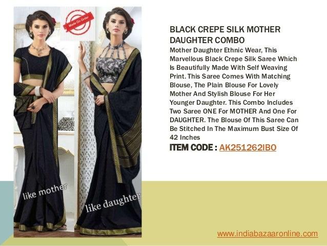 300e6cf933 ... 4. BLACK CREPE SILK MOTHER DAUGHTER COMBO ...