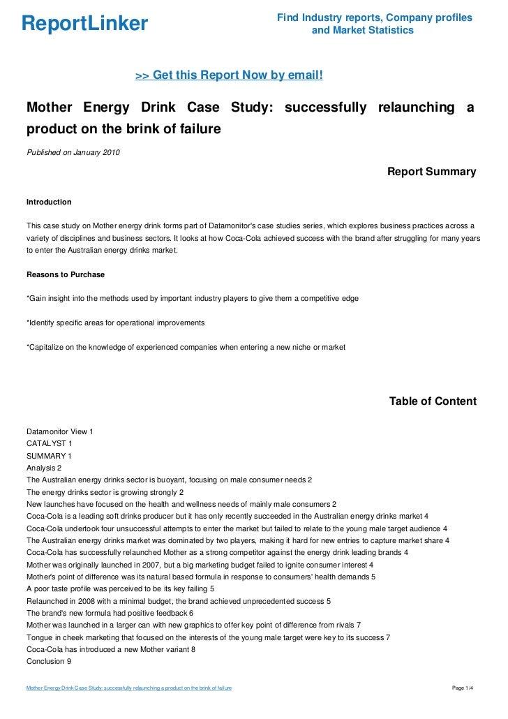 Energy drinks case study 2 essay