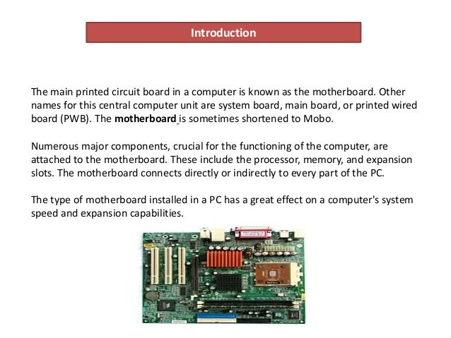 motherboard electronic components and their functions