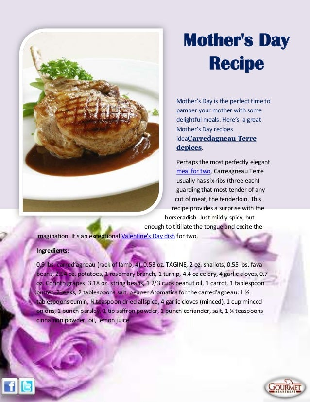 Mother's Day is the perfect time topamper your mother with somedelightful meals. Here's a greatMothers Day recipesideaCarr...