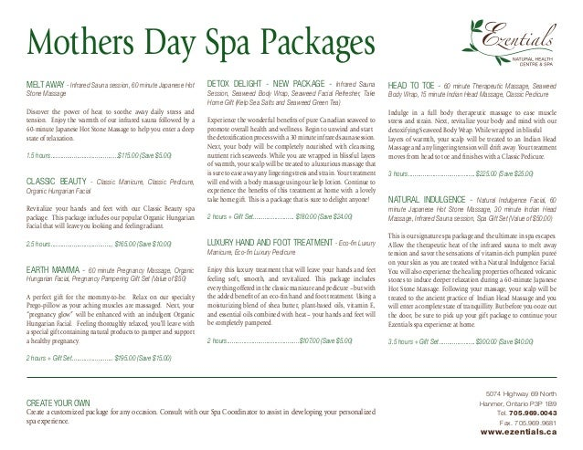 Mothers day spa packages ezentials for Weekend girl getaways spa packages