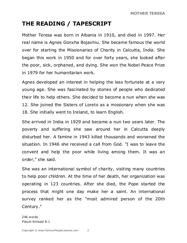 Biography Of Mother Teresa Pdf