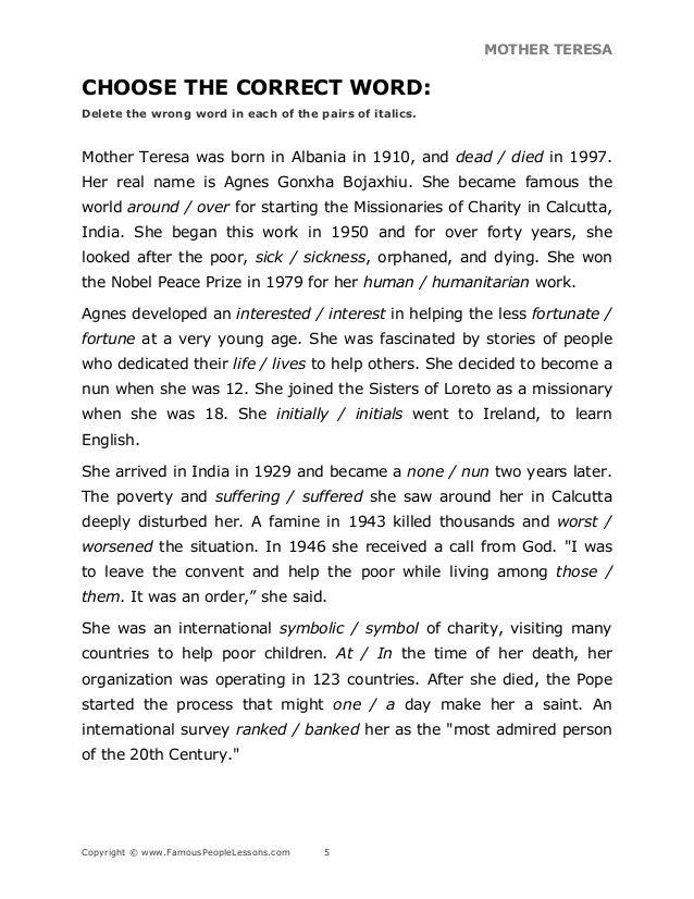 mother teresa essay pdf