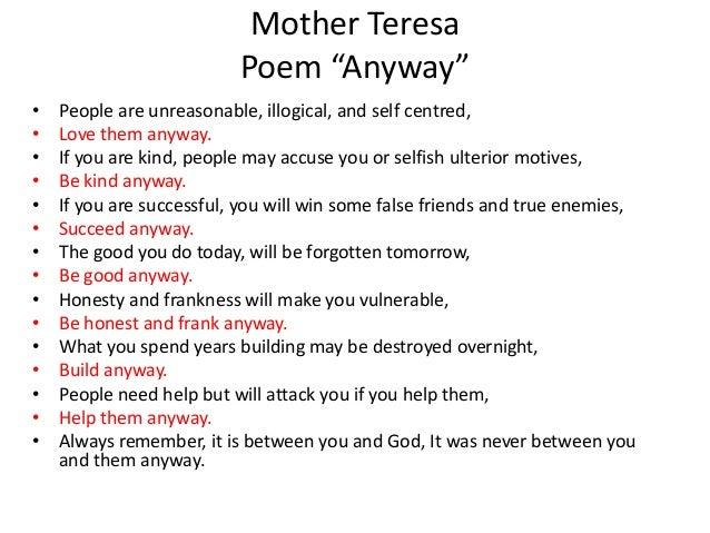 Elegant Mother TeresaPoem U201cAnywayu201du2022 ...