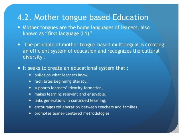 Mother Tongue Multilingual Education - PowerPoint PPT Presentation