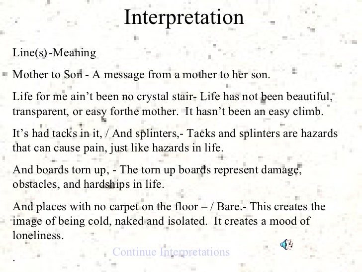 Mother to son essay