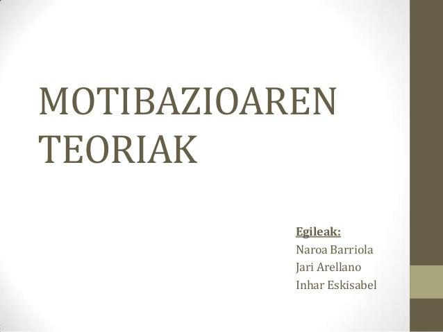 MOTIBAZIOARENTEORIAK           Egileak:           Naroa Barriola           Jari Arellano           Inhar Eskisabel