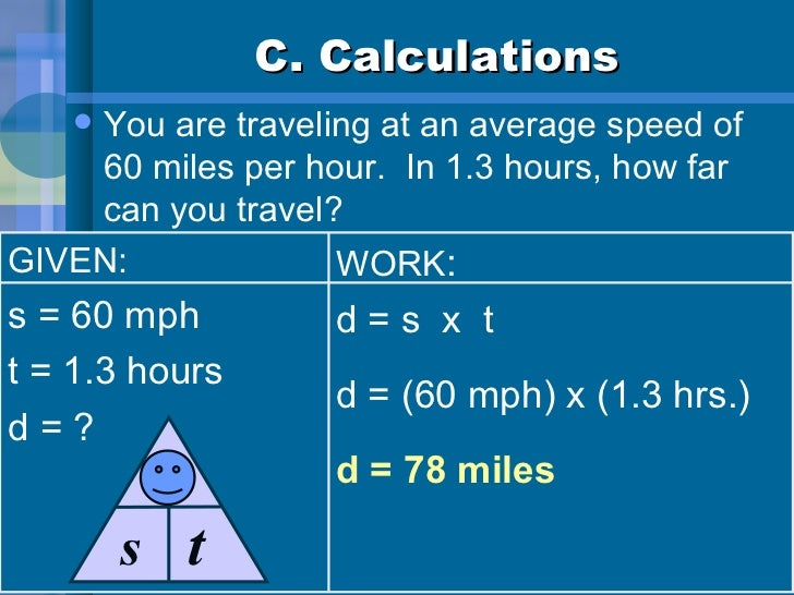 C. Calculations <ul><li>You are traveling at an average speed of 60 miles per hour.  In 1.3 hours, how far can you travel?...