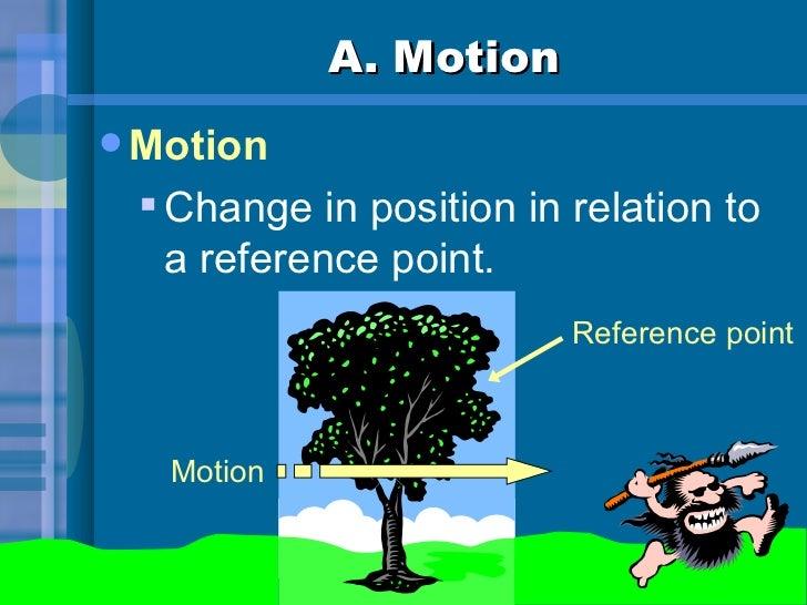 A. Motion <ul><li>Motion </li></ul><ul><ul><li>Change in position in relation to a reference point.  </li></ul></ul>Refere...