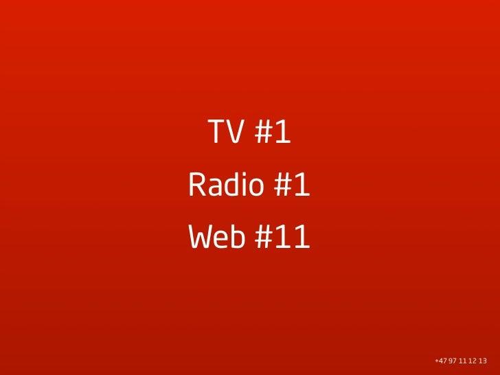 TV #1 Radio #1 Web #11              +47 97 11 12 13