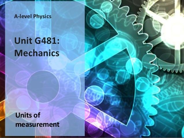 A-level PhysicsUnit G481:MechanicsUnits ofmeasurement