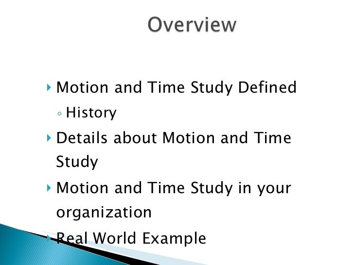 Example of time and motion study