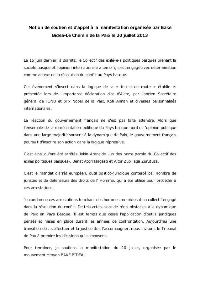 Motion de soutien et d'appel à la manifestation organisée par Bake Bidea-Le Chemin de la Paix le 20 juillet 2013 Le 15 jui...