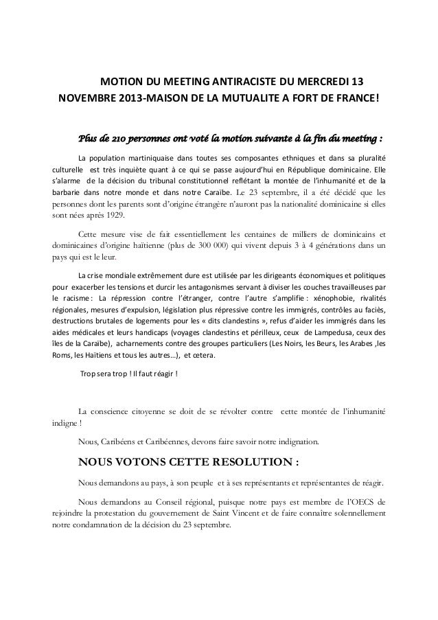 MOTION DU MEETING ANTIRACISTE DU MERCREDI 13 NOVEMBRE 2013-MAISON DE LA MUTUALITE A FORT DE FRANCE! Plus de 210 personnes ...