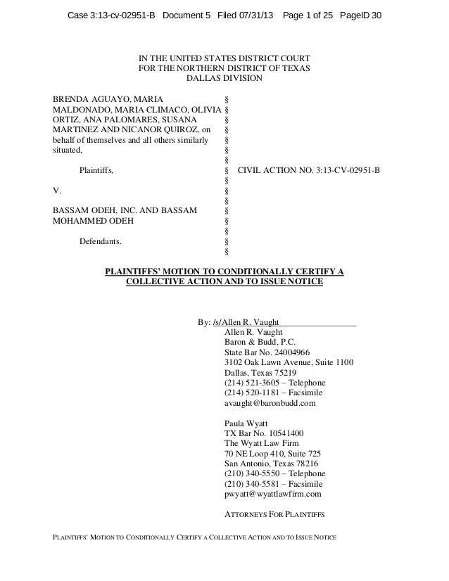 "PLAINTIFFS"" MOTION TO CONDITIONALLY CERTIFY A COLLECTIVE ACTION AND TO ISSUE NOTICE IN THE UNITED STATES DISTRICT COURT FO..."