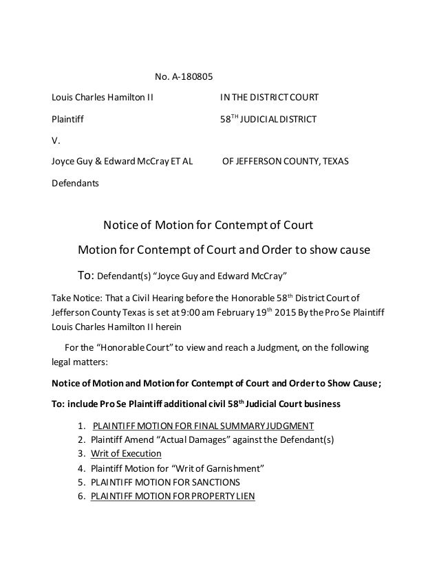 Motion for contempt of court and order to show cause