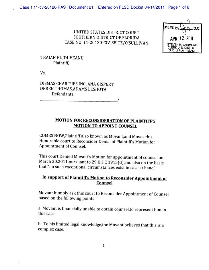 Motion for reconsideration of plaintiff's motion to appoint counsel