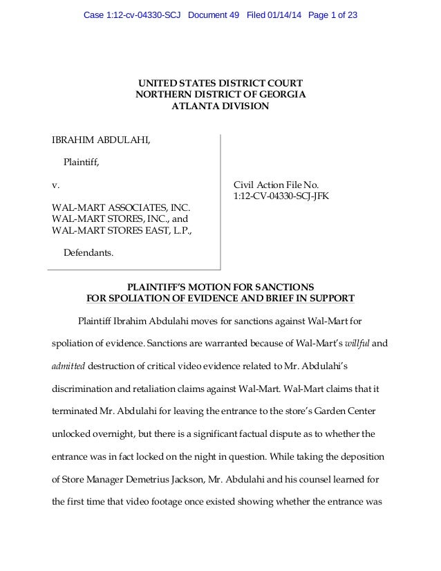 Motion For Sanctions Against Wal Mart