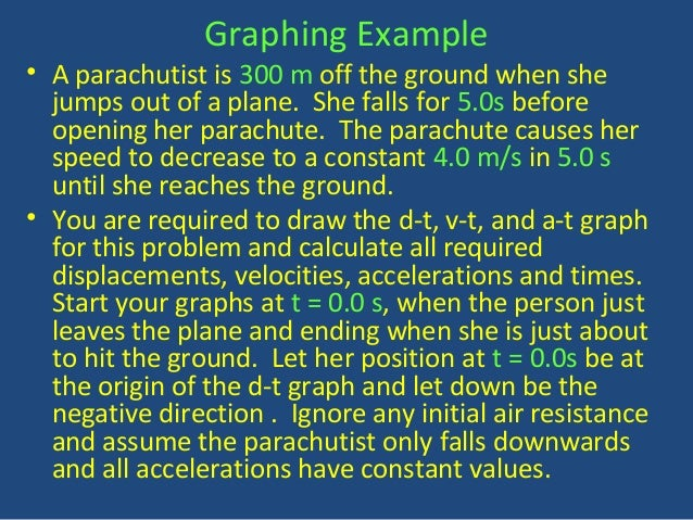 Graphing Example  • A parachutist is 300 m off the ground when she  jumps out of a plane. She falls for 5.0s before  openi...