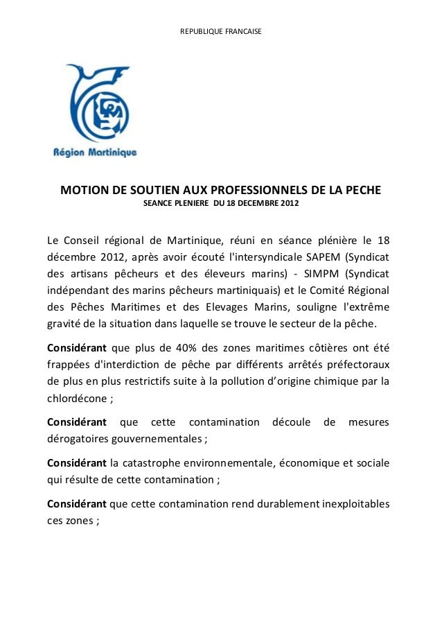 REPUBLIQUE FRANCAISE  MOTION DE SOUTIEN AUX PROFESSIONNELS DE LA PECHE                    SEANCE PLENIERE DU 18 DECEMBRE 2...